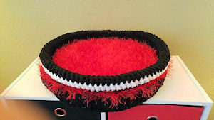 red & black pet bed