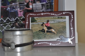 Purr's cremation urn and her picture - we still have these on our bookshelf