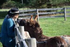 woman with mini donkey