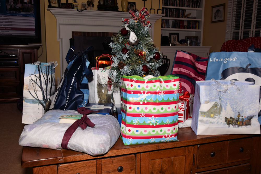 gifts and small christmas tree