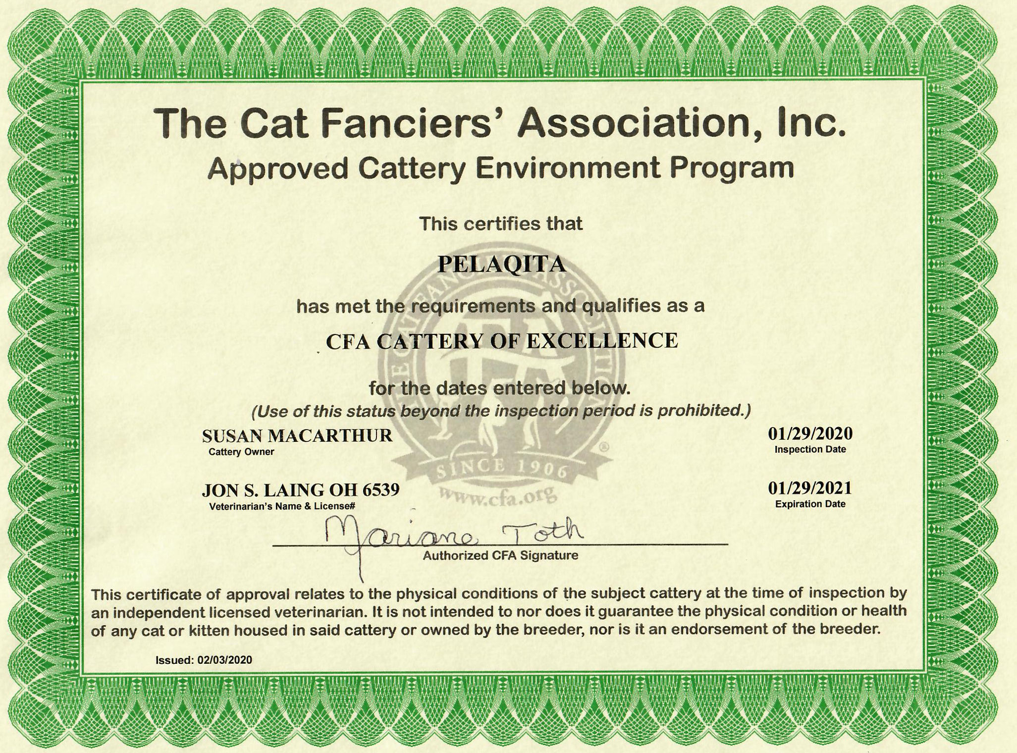CFA Cattery of Excellence logo - January 29, 2020 through January 29, 2021