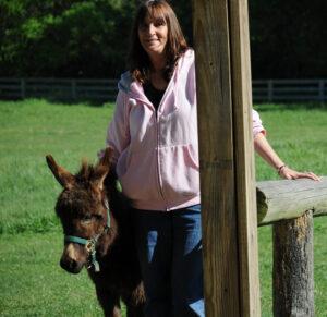 woman with mini-donkey