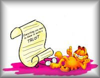 garfield with trust paper